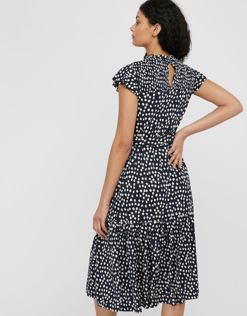 Serenity Spot Print Jersey Midi Dress, Blue (NAVY), large