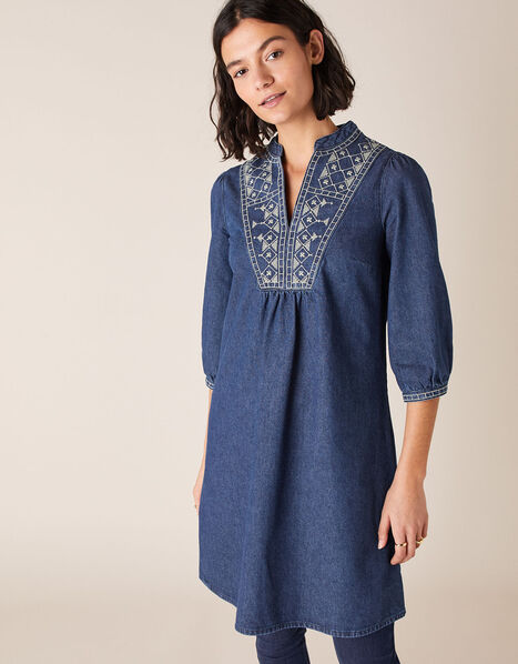 Embroidered Denim Dress Blue, Blue (INDIGO), large