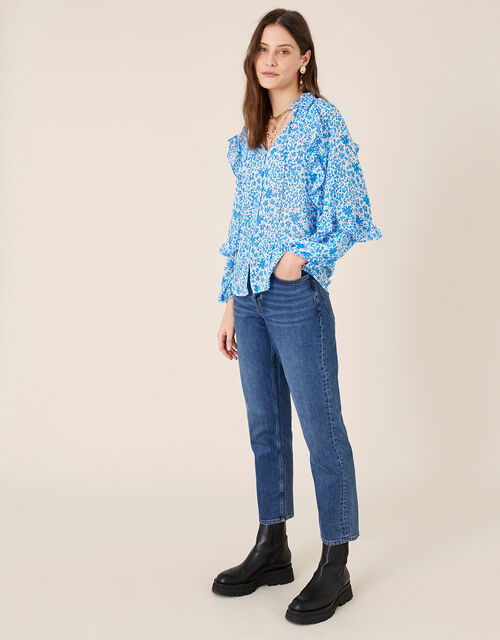 Ruffle Sleeve Floral Blouse, Blue (BLUE), large