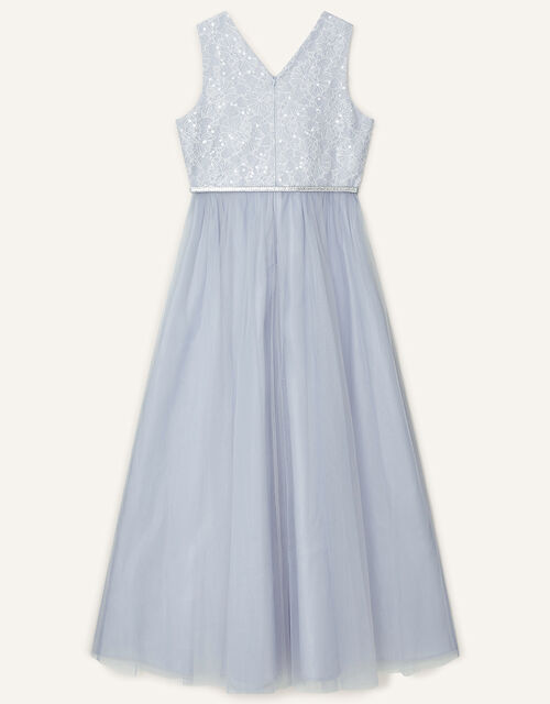 Sequin Lace Bodice Prom Dress, Grey (GREY), large