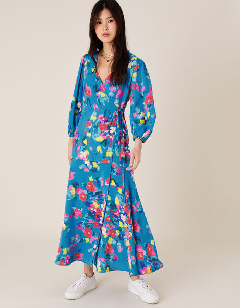 Ellie Floral Wrap Dress in Sustainable Viscose Blue, Blue (TURQUOISE), large