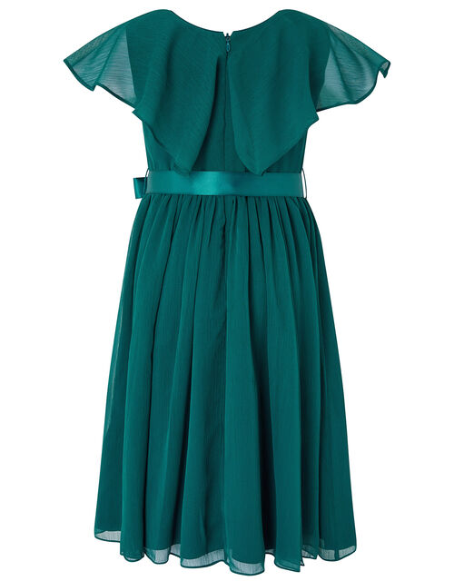 Cape Sleeve Sequin Dress in Recycled Fabric, Teal (TEAL), large