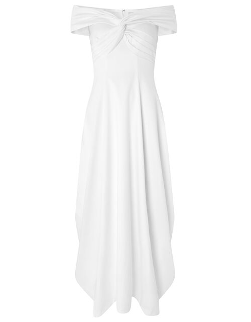 Hannah Bardot Satin Bridal Dress, Ivory (IVORY), large