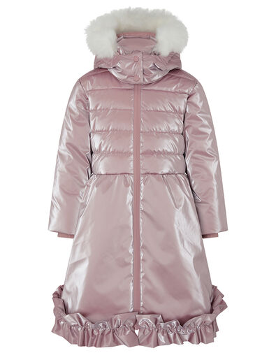 Metallic Frill Hem Padded Coat Pink, Pink (PINK), large