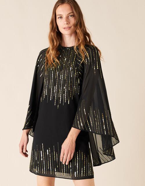Courtney Embellished Cape Sleeve Dress, Black (BLACK), large