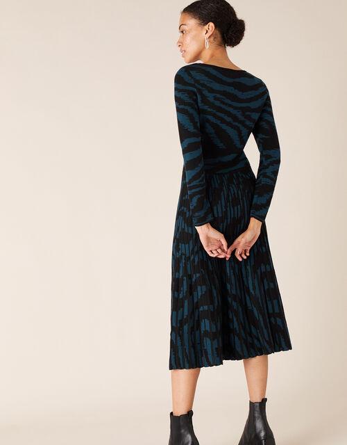 Zebra Jacquard Midi Dress, Teal (TEAL), large