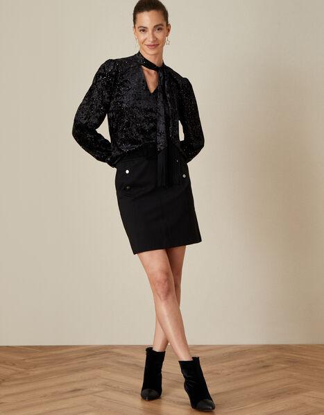 Tammy Velvet Pussybow Top Black, Black (BLACK), large