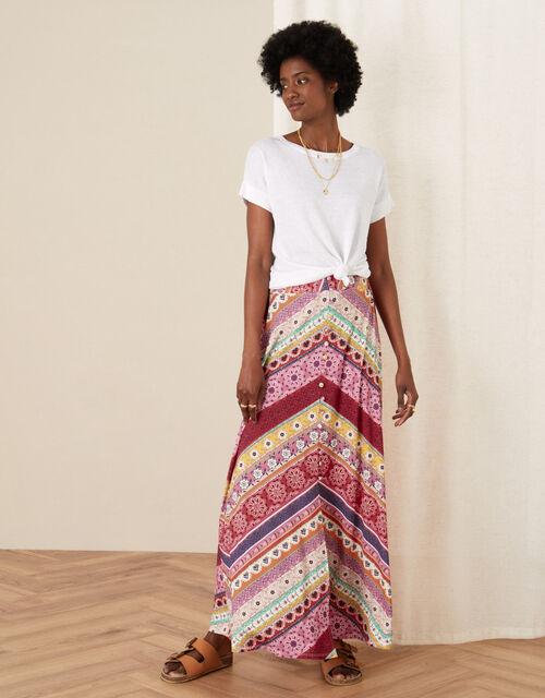 Cameron Mix Print Jersey Skirt, Pink (PINK), large