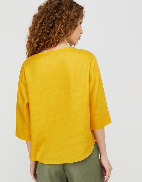 Scarlet Relaxed Blouse in Pure Linen, Yellow (YELLOW), large