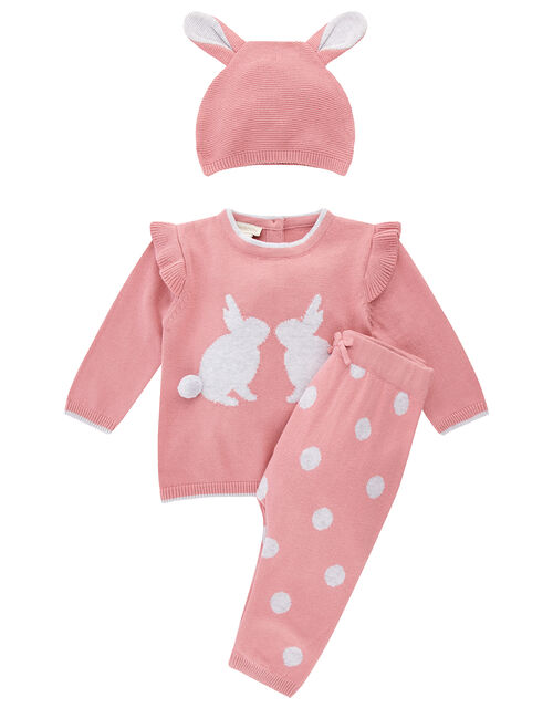Newborn Baby Bunny Knit Set with Hat, Pink (PINK), large