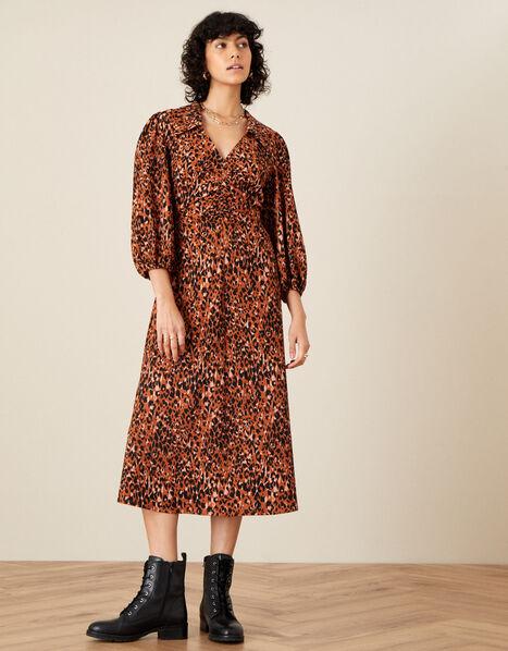 Animal Jersey Printed Ruched Dress  Natural, Natural (NATURAL), large