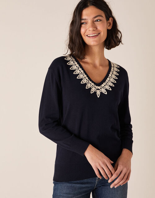 Cornelli Trim Dolman Sleeve Knit Jumper, Blue (NAVY), large