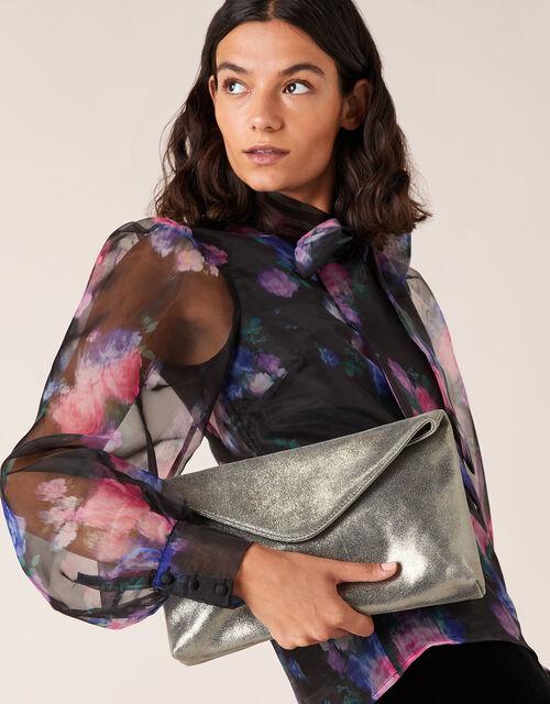 Metallic Leather Oversized Clutch Bag, , large