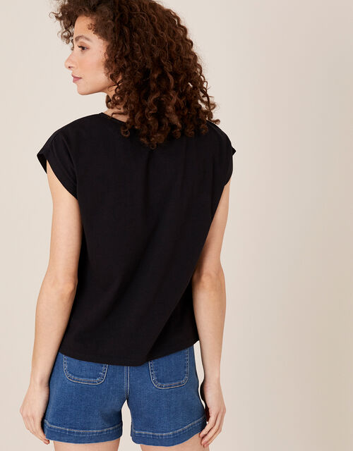 Lila Woven Front Tee in Organic Cotton , Black (BLACK), large