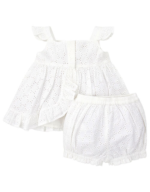 Newborn Baby Rosie Broderie Set in Pure Cotton, Ivory (IVORY), large