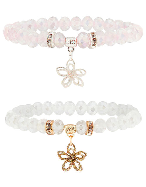 Beaded Bracelet Set with Glitter Flower Charms, , large