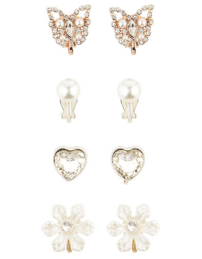 Pearl and Sparkle Clip-On Earring Set, , large