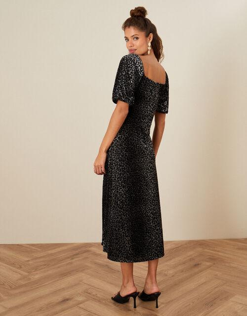 Annie Animal Devore Dress, Black (BLACK), large