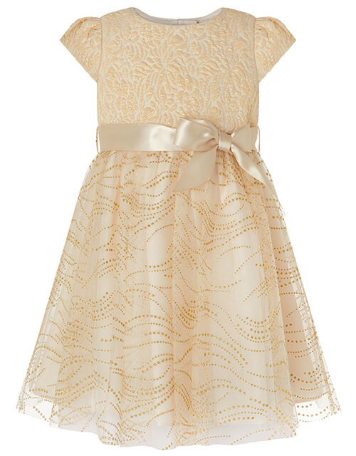 Baby Franceska Jacquard Glitter Dress, Gold (GOLD), large