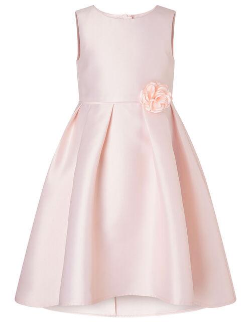 Corsage Belt Hi-Low Dress, Pink (DUSKY PINK), large