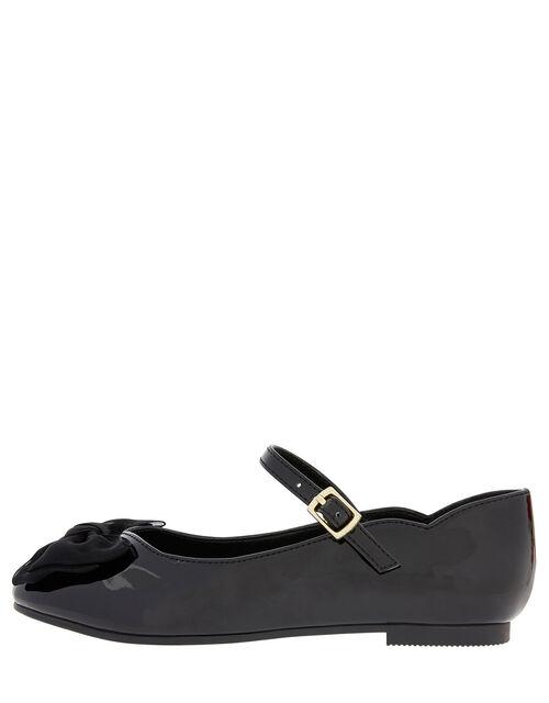 Emery Patent Bow Ballerina Flats, Black (BLACK), large