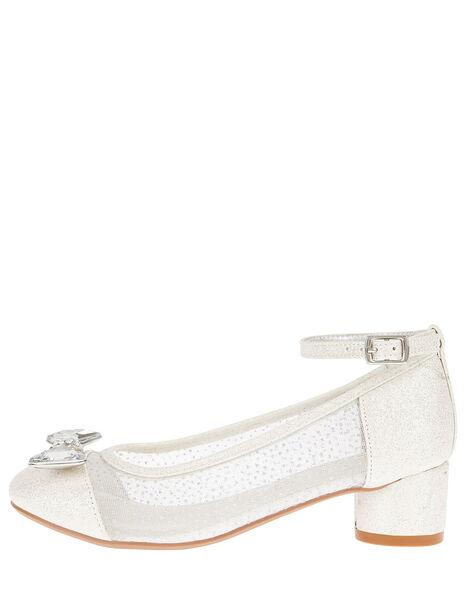 Diamante Bow Princess Shoes Silver, Silver (SILVER), large
