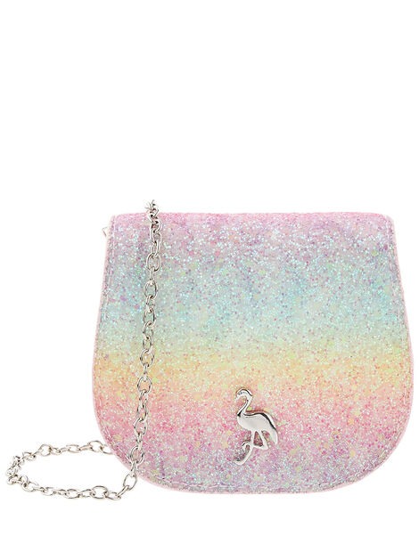 Flamingo Rainbow Glitter Bag, , large