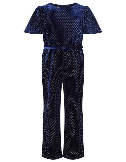 Shimmer Velvet Belted Jumpsuit, Blue (NAVY), large