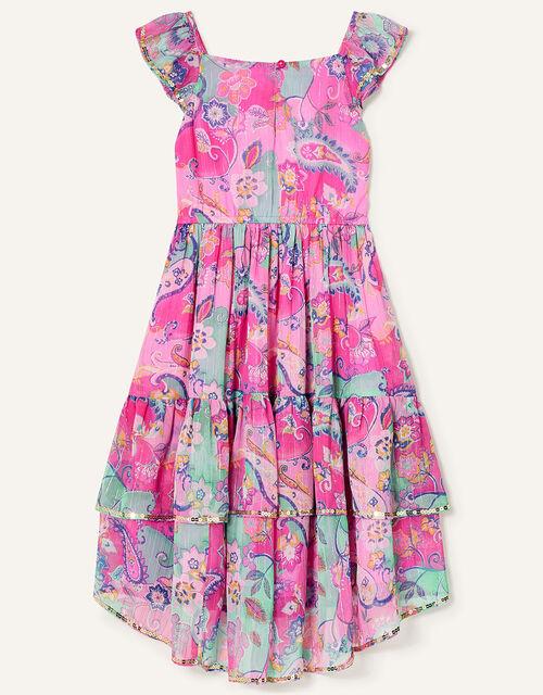 Embellished Paisley Print Maxi Dress, Pink (PINK), large