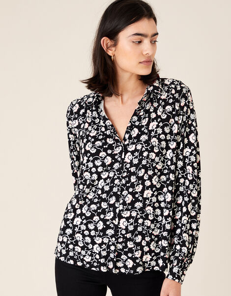 Leigh Floral Shirt with LENZING™ ECOVERO™ Black, Black (BLACK), large