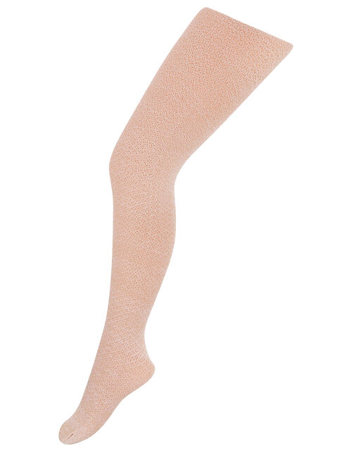 Girls Annette Sparkly Knitted Tights, Pink (PINK), large