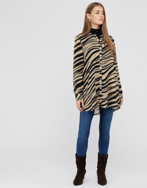 Lexi Animal Print Longline Skirt, Black (BLACK), large
