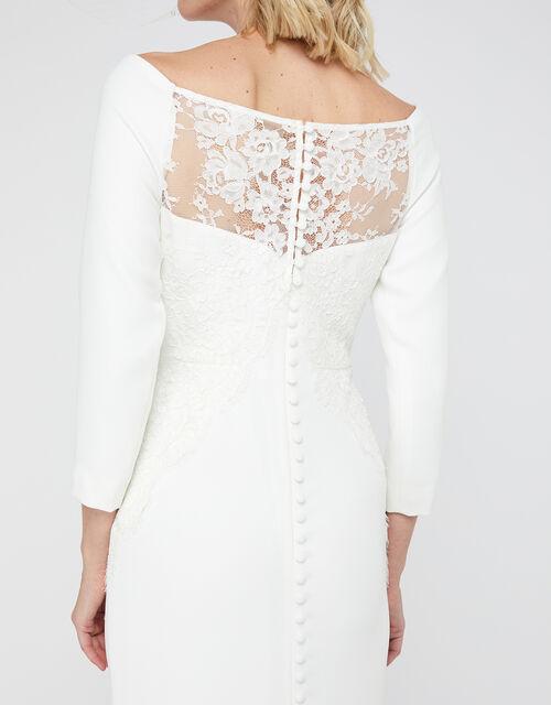 Una Bridal Bardot Crepe Lace Maxi Dress, Ivory (IVORY), large