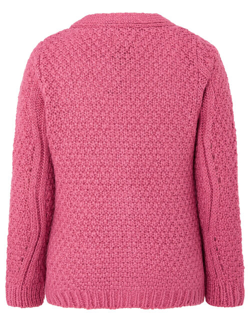 Chunky Knit Cardigan, Pink (PINK), large
