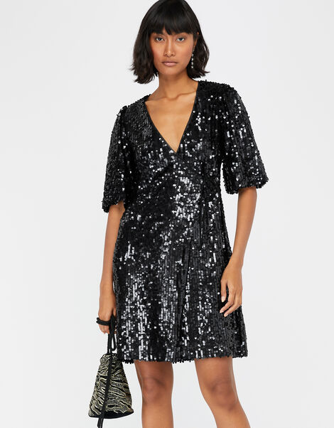 Serena Sequin Wrap Dress Black, Black (BLACK), large