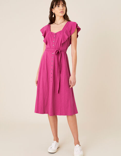 Fia Button Frill Jersey Dress Pink, Pink (PINK), large