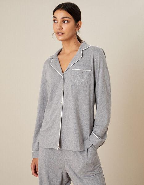 Plain Jersey Button Pyjama Shirt Grey, Grey (GREY), large
