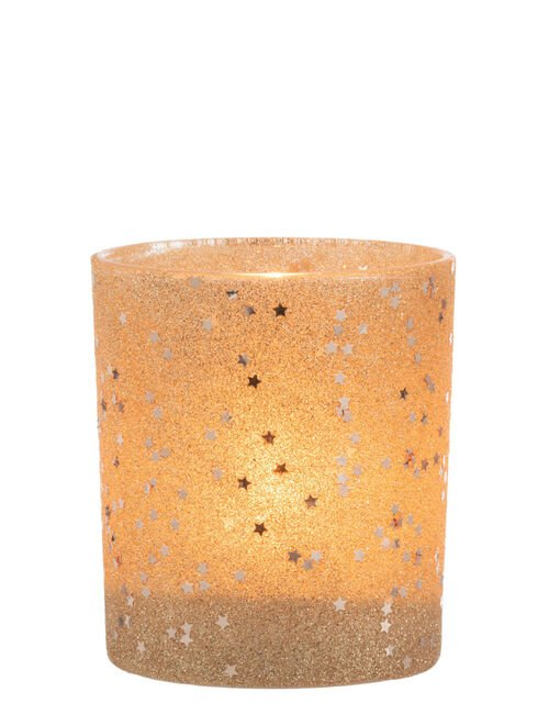 Star and Glitter Tealight Holder, Gold (GOLD), large