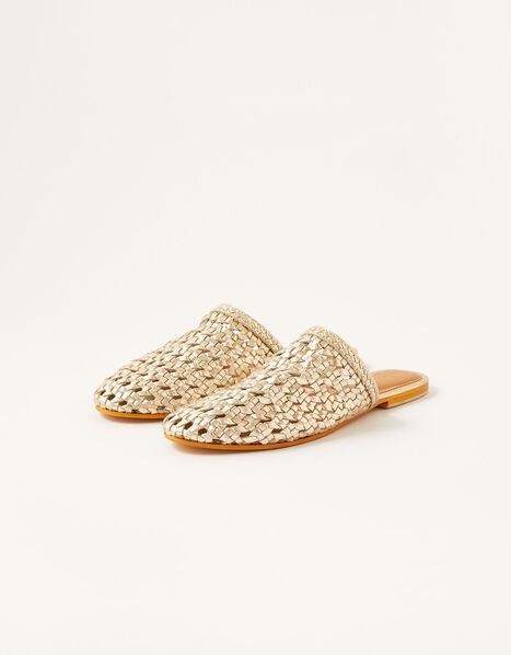 Woven Metallic Flat Mules Gold, Gold (GOLD), large
