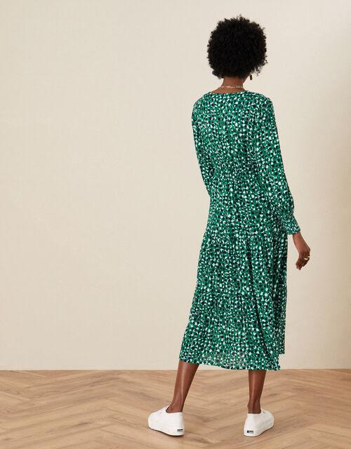 Shirred Animal Print Dress, Green (GREEN), large