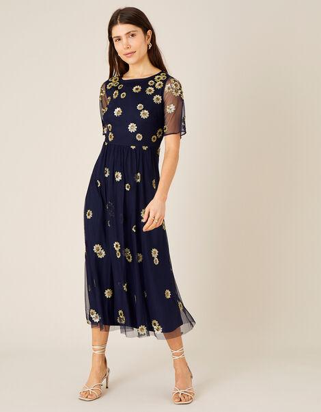 Susan Sequin Sunflower Midi Dress Blue, Blue (NAVY), large
