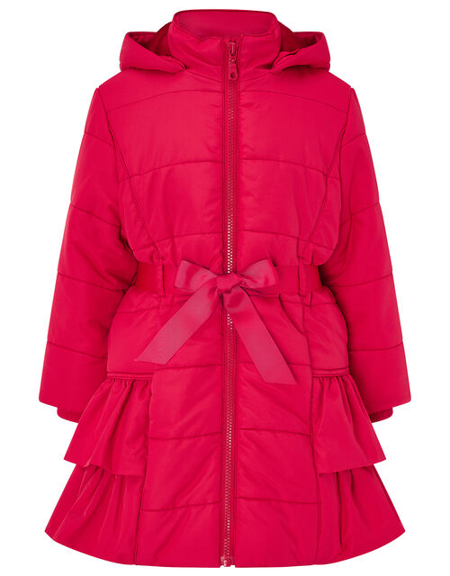 Red Frill Padded Coat, Red (RED), large