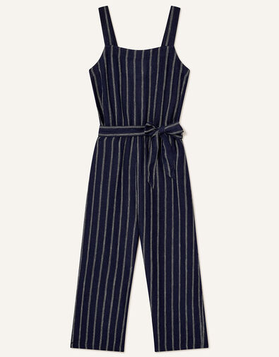 Stripe Jumpsuit in Pure Linen Blue, Blue (NAVY), large