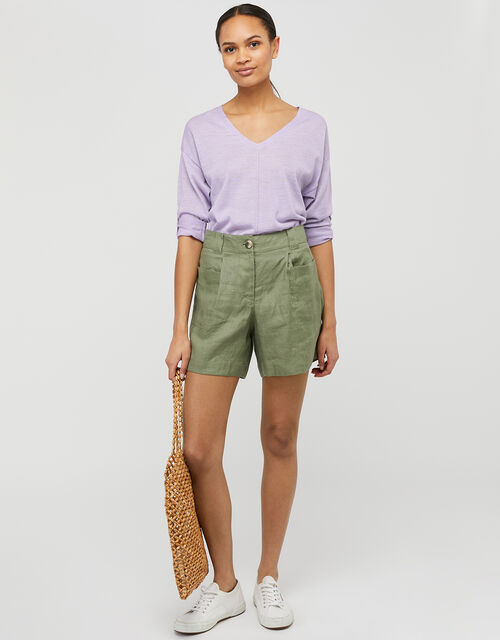 Tilly Tab Sleeve Lightweight Jumper in Linen Blend, Purple (LILAC), large
