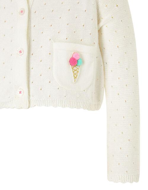 Baby Ice Cream Knit Cardigan, Ivory (IVORY), large