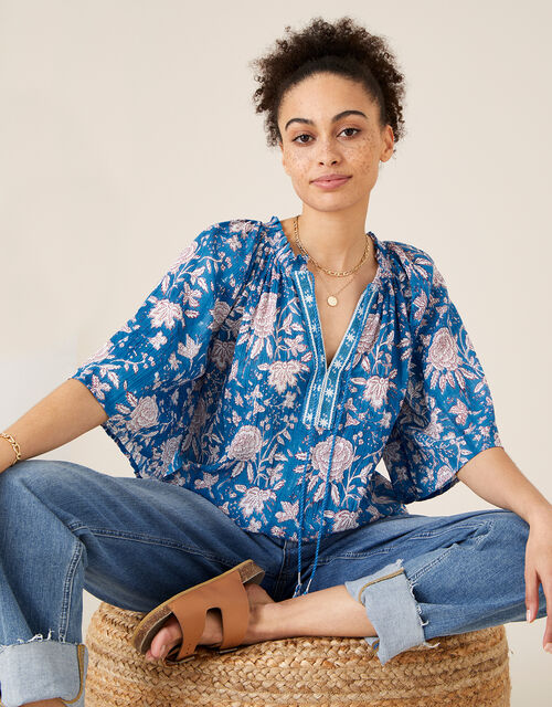 Printed Top in Organic Cotton, Blue (BLUE), large