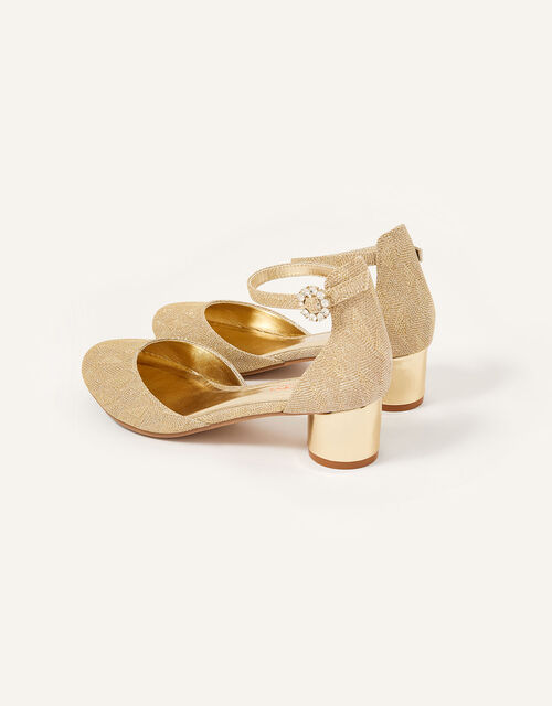 Shimmer Two-Part Heel Shoes, Gold (GOLD), large