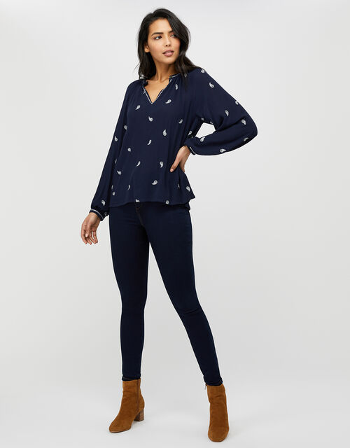 Pia Embroidered Blouse in LENZING™ ECOVERO™, Blue (NAVY), large
