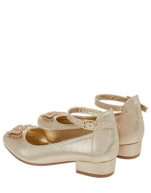 Fluttering Butterfly Shimmery Heel Shoes, Gold (GOLD), large