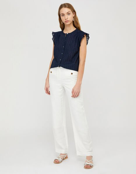 Elodie Capped Sleeve Blouse Blue, Blue (NAVY), large